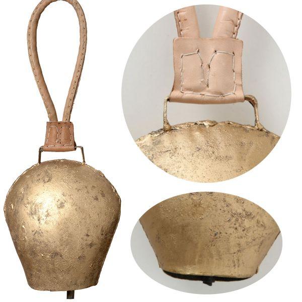 Kuhglocke Eisen 25cm Gold Braun Lederband Nostalgie Glockenschelle