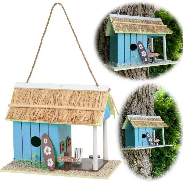 Holz Vogelhaus Nistkasten 28cm Beach Blau Vogelhäuschen Meisenkasten