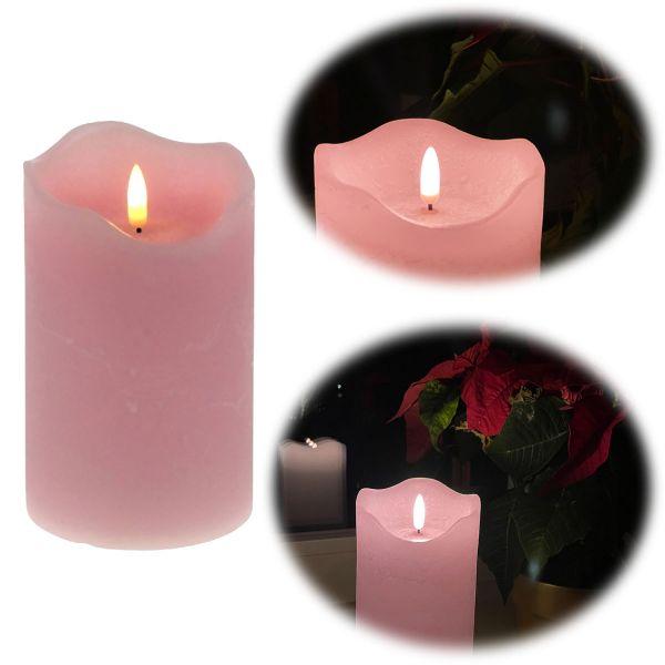 LED 3D Stumpenkerze Rosa 15cm Echtwachs flackernde flammenlose Kerze
