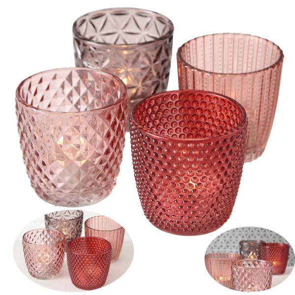 4 Glas Teelichthalter Set Rosa Rose 7cm Teelichtglas Windlicht-Halter