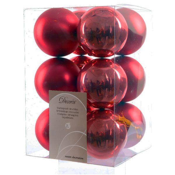 12 Design Weihnachtskugeln 6cm Rot Kunststoff Dekokugel Baumkugel