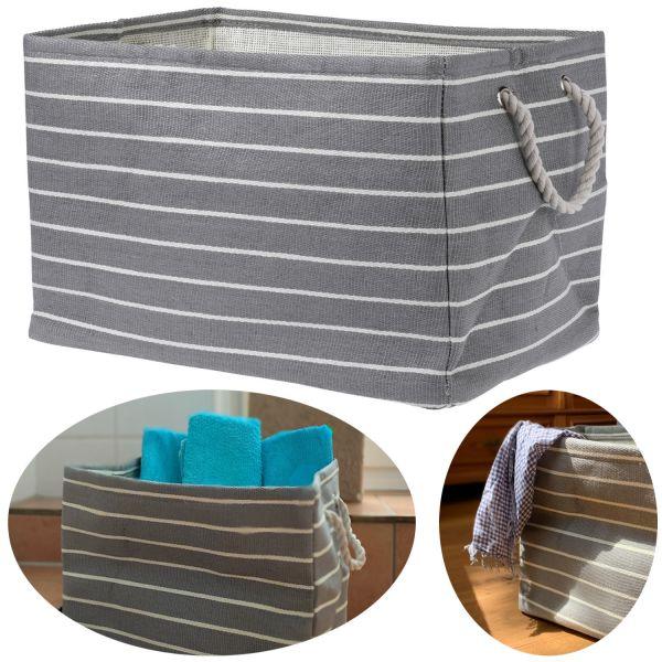 XL Regal-Korb Grau Weiß 43cm Wäschekorb Aufbewahrungskorb Faltbox Tasche