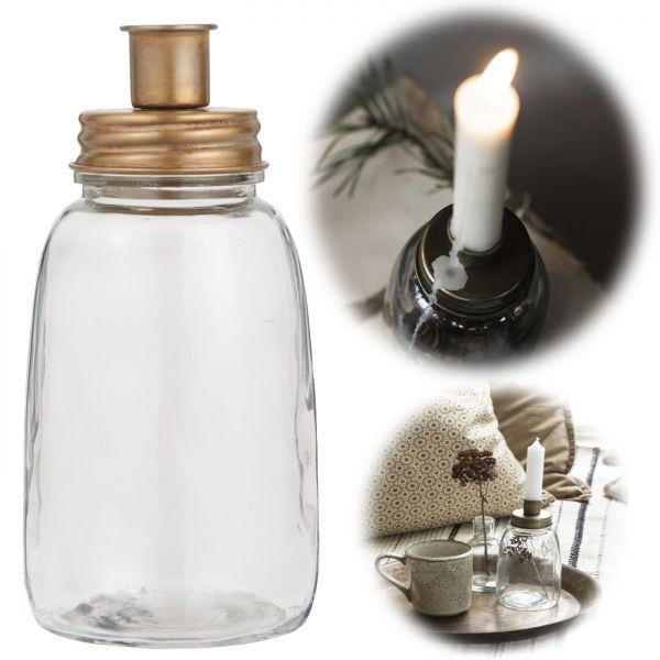 Glas Kerzenständer 17cm Gold Stab-Kerzenhalter Kerzenleuchter Deko-Vase