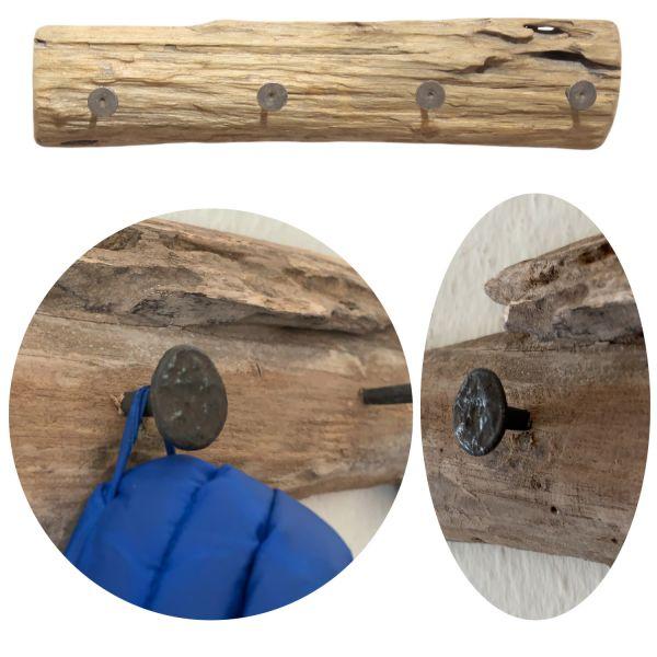 Vintage Holz Wandgarderob 4 Haken Braun Baumstamm Garderobenleiste