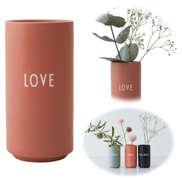 AJ Tischvase 11cm Love Rosa Design Letters Blumenvase Deko Väschen