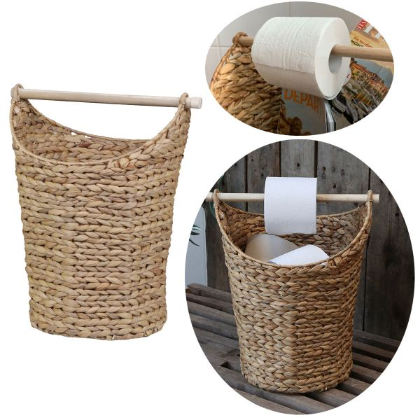 Toilettenpapier-Ständer Deko-Korb Braun Klorollen-Halter Rattan-Look
