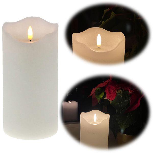 LED 3D Stumpenkerze Creme Weiß 20cm Echtwachs flackernde flammenlose Kerze