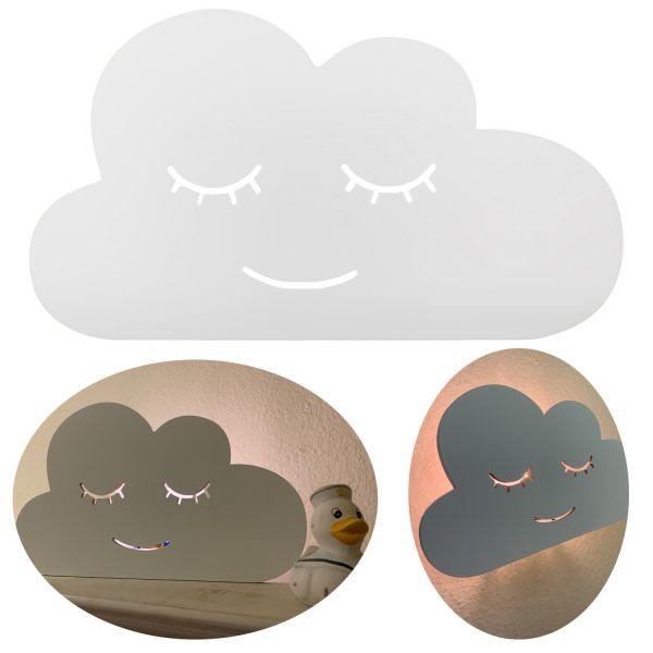 Kinder LED Wandlampe Wolke 34cm Holz Weiß Einschlafhilfe Nachtlicht