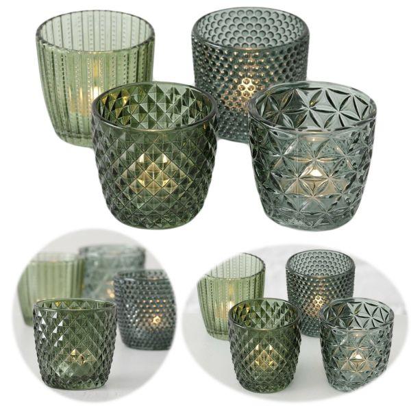 4´er Set Glas Teelichthalter Retro Grün 7cm Teelichtglas Windlicht-Halter