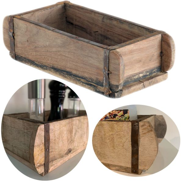 Holz Aufbewahrung-Box 32x15x10cm 1-fach Ziegelform-Optik Cutlery Deko