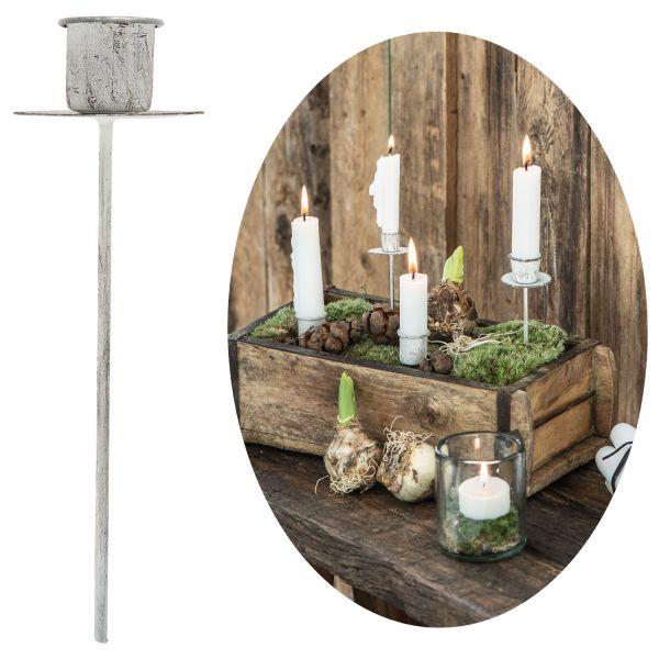 Metall Stabkerzen-Halter Spieß Weiß 15cm Kerzenständer Kerzen-Stecker