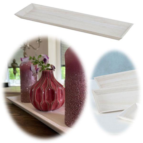 Holz Deko-Tablett Shabby Weiß 45x16cm Kerzen-Schale Teelichthalter