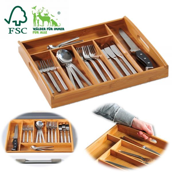 Besteckkasten Holz 38x32cm FSC Bambus Schubladeneinsatz Besteckbox Organizer