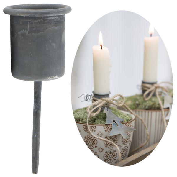 Metall Stabkerzen-Halter Spieß Grau 8cm Kerzenständer Kerzen-Stecker