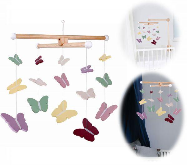 JaBaDaBaDo Holz Mobile Schmetterling Rosa Grün Gelb T273 Baby Kinder-Zimmer