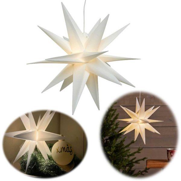3D Außen Leuchtstern Ø 30cm Weiß 2 LED Timer Beleuchtet Weihnachtsstern