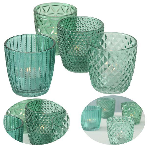 4 Glas Teelichthalter Set Retro Petrol 7cm Teelichtglas Windlicht-Halter