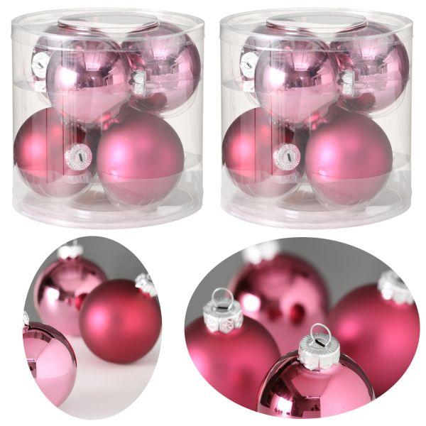 12 Design Glas Weihnachtskugeln 8cm Rosa Pink Glaskugel Dekokugel