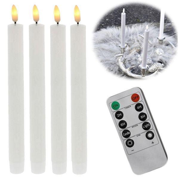 LED 3D Stabkerze Creme Weiß 24,5cm Echtwachs Set 4-fach Timer Fernbedienung