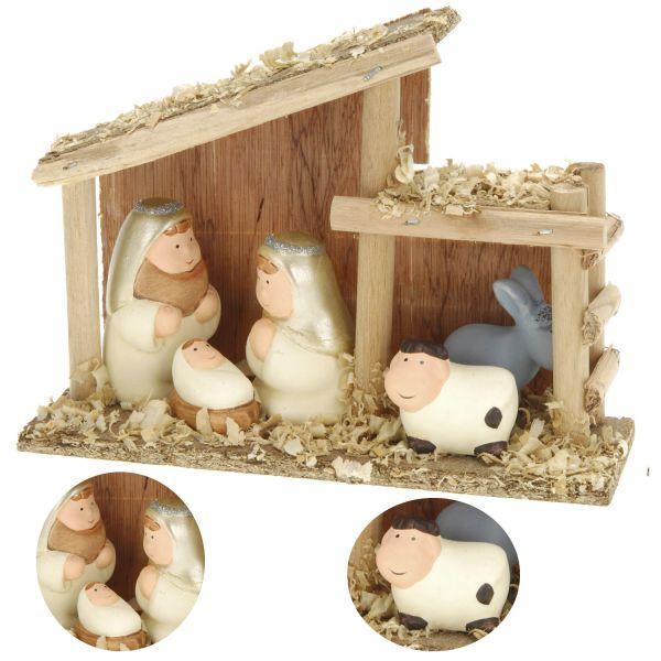 Holz Kinder Krippenstall Weihnachtskrippe 5 Figuren Krippenszene