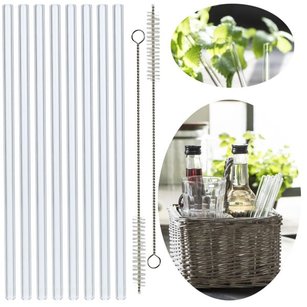 8x Premium Glas Trinkhalme Gerade 20cm Borosilikat Bürste Strohhalm