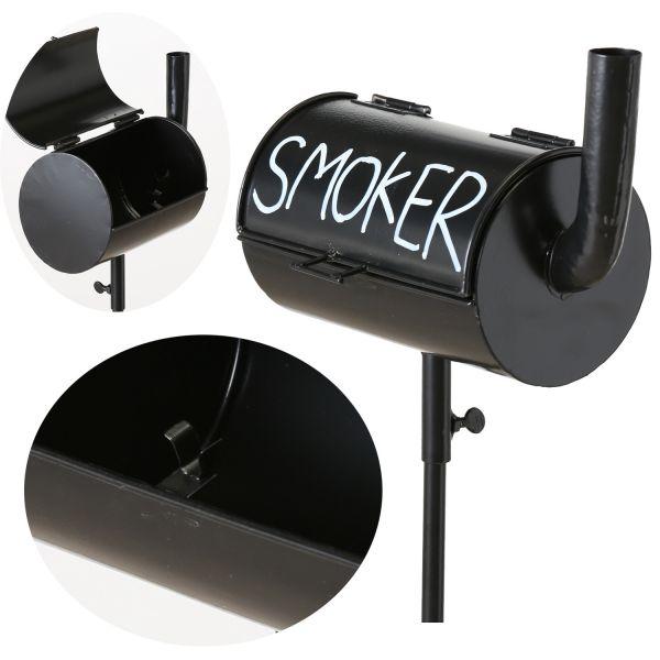Windaschenbecher BBQ Grill Smoker Schwarz Gartenstab 110cm Sturmascher