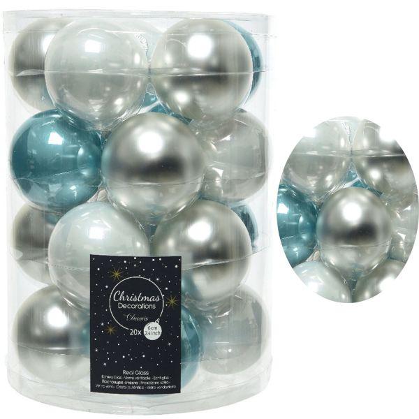 20 Design Glas Weihnachtskugeln 6cm Mix Türkis Silber Glaskugel Deko