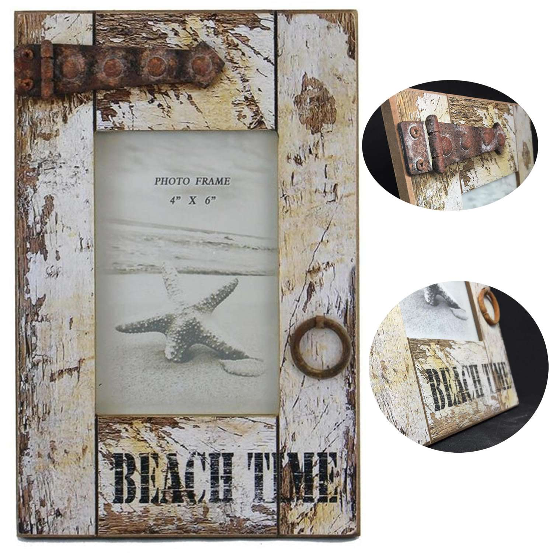 Stand-Bilderrahmen Fotorahmen Holz Vintage Retro Maritim Beach Time ...