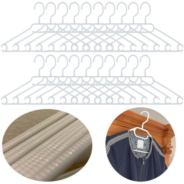 20 Kleider-Bügel Weiß Wäschebügel Anti-Rutsch Kunststoff Hosen-Steg