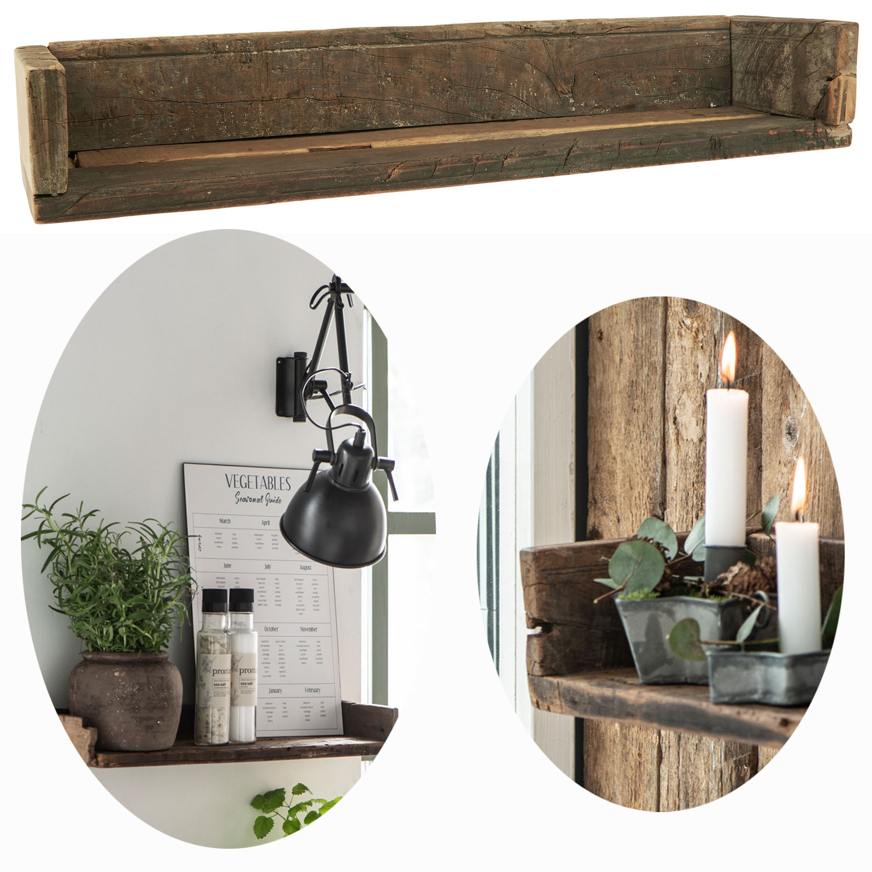 Holz Ziegelform Wandregal 60x15cm Braun Küchen-Regal Bücher Wand-Board