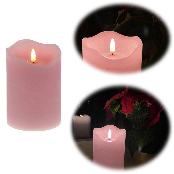 LED 3D Stumpenkerze Rosa 12,5cm Echtwachs flackernde flammenlose Kerze