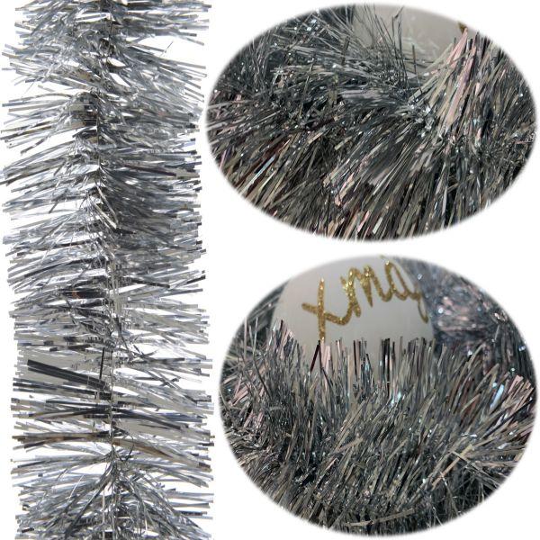 Weihnachts-Girlande 2,70 Meter Silber Lametta Party Baum-Deko