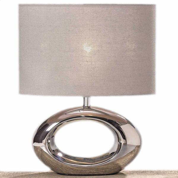 Tischlampe Napoli 33cm Kugel Silber Grau Tischleuchte Nachttischlampe