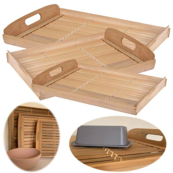 3x Holz-Tablett Serviertablett Set Bambus Braun Natur Deko-Tablett