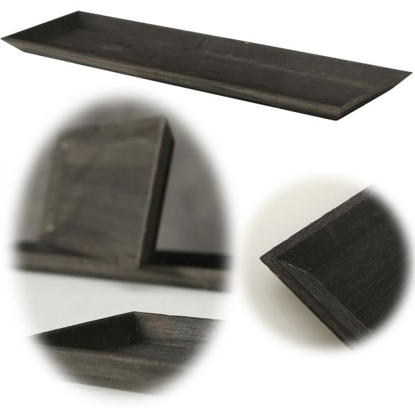 Holz Deko-Tablett Shabby Schwarz 55x16cm Kerzen-Schale Teelichthalter