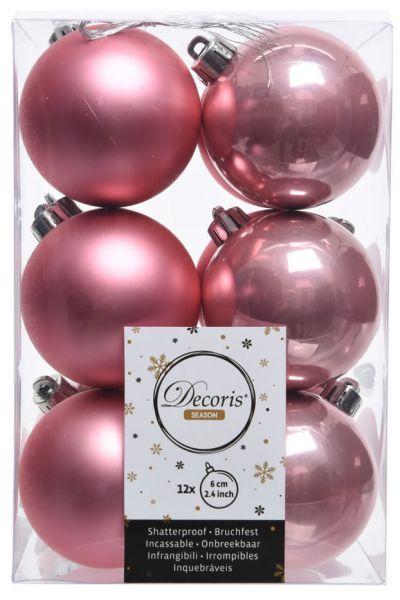 6 Design Weihnachtskugeln 8cm Wild-Rose Kunststoff Dekokugel Baumkugel