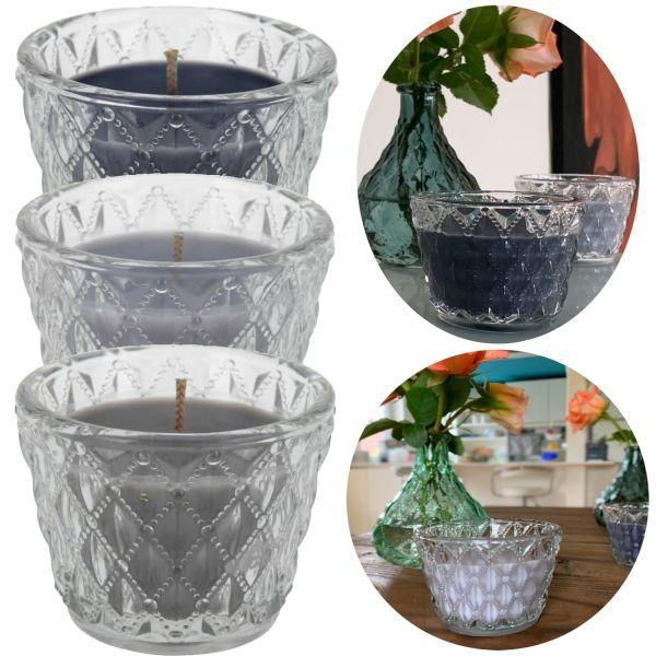 3x Duftkerze Kristall Glas Set Teelichtglas Teelichthalter Windlicht