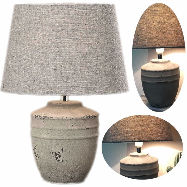 Tischlampe Beton Keitum Stein Grau 23cm Tischleuchte Nachttischlampe