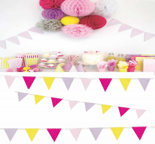 JaBaDaBaDo Wimpelkette 3 Meter Rosa Pink Gelb Geburtstag Z17161