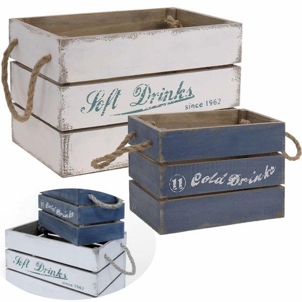 2x Holz Aufbewahrungsbox Set Blau Weiß Stapelbox Wand-Regal Weinkiste