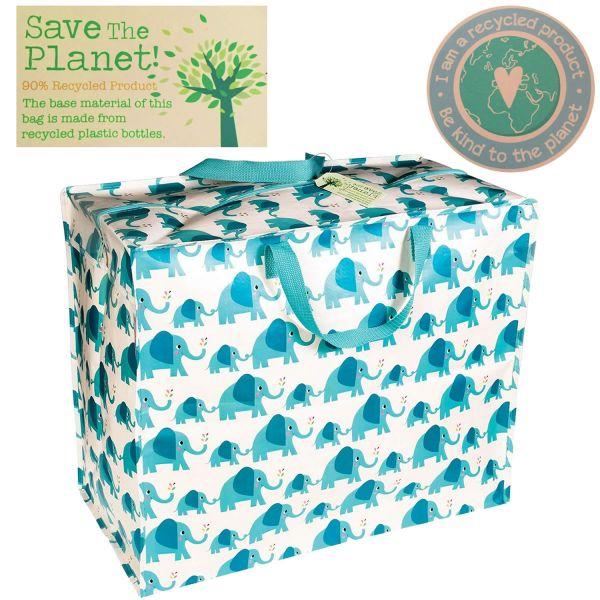XXL Jumbo Bag Elefant Blau Weiß Recycled Allzwecktasche Einkaufstasche