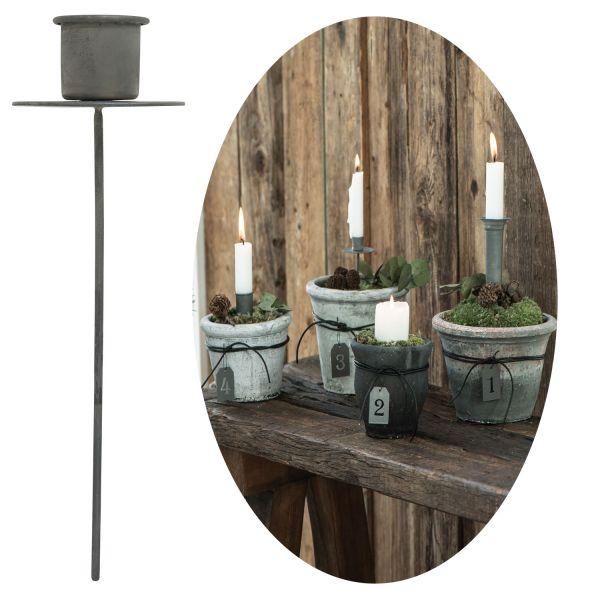 Metall Stabkerzen-Halter Spieß Grau 15cm Kerzenständer Kerzen-Stecker