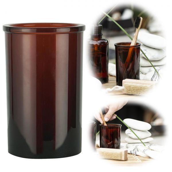 Design Glas Zahnputzbecher Braun 11cm Altum Zahn-Bürstenhalter