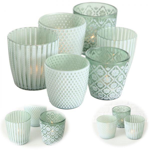 6x Glas Teelichthalter Retro Mint Grün 7-9cm Set Windlicht-Halter Kerzenständer