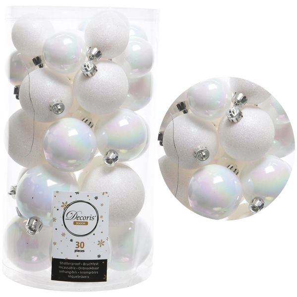 30 Kunststoff Weihnachtskugeln Weiß White 4cm-6cm Baumkugel Dekokugel
