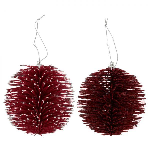 2x Deko-Kugel Rot Weiß 11cm Dekohänger Weihnachten Christbaumschmuck