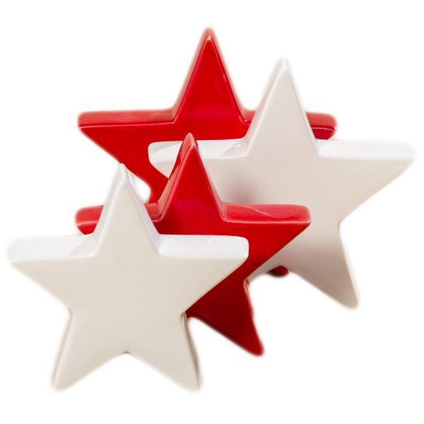 2x Deko Weihnachts-Stern Keramik Rot Weiß Tisch-Dekoration Weihnachten