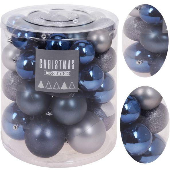44 Kunststoff Weihnachtskugeln Blau Grau 5-8cm Baumkugel Dekokugel