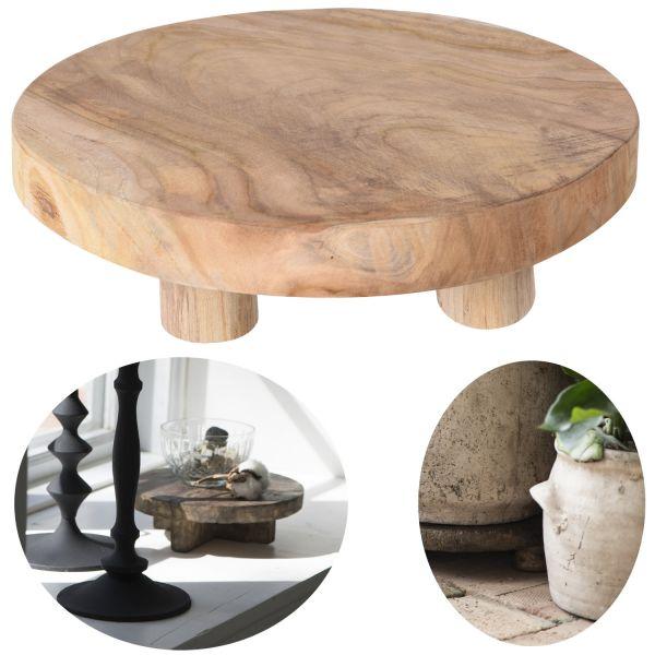 Mini-Tisch Teak-Holz 30x8cm Deko-Tablett Pflanzenhocker Blumenständer