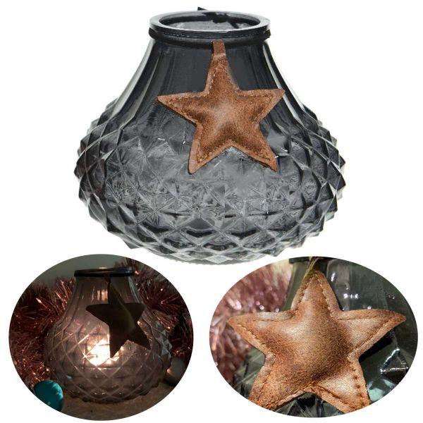 Glas Windlicht Grau Blau Stern 11cm Ornament Teelicht-Halter Deko